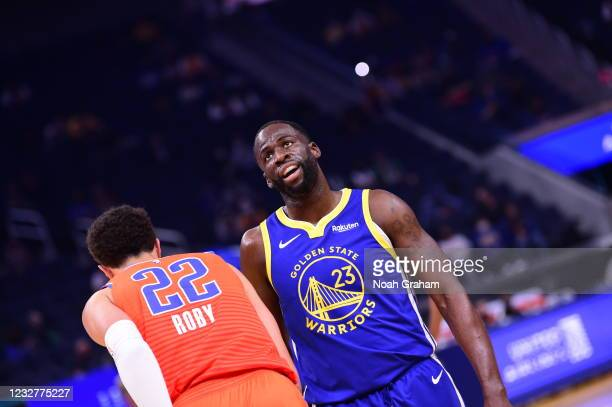 Draymond Green of the Golden State Warriors looks on during the game against the Oklahoma City Thunder on April 8, 2021 at Chase Center in San...