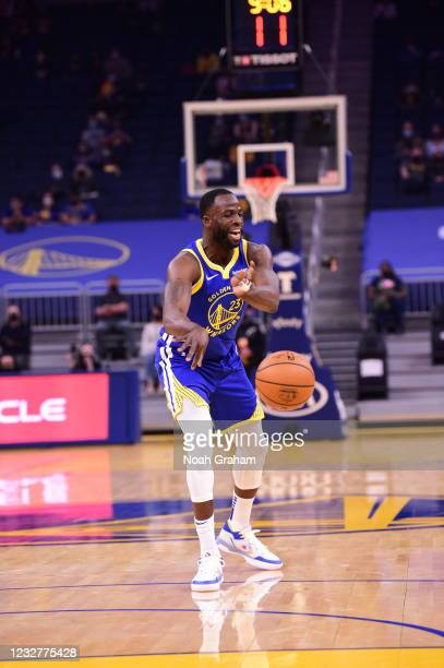 Draymond Green of the Golden State Warriors passes the ball against the Oklahoma City Thunder on April 8, 2021 at Chase Center in San Francisco,...