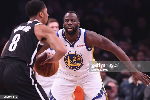Draymond Green of the Golden State Warriors plays defense during the game against the Brooklyn Nets at Barclays Center on October 28 2018 in the...