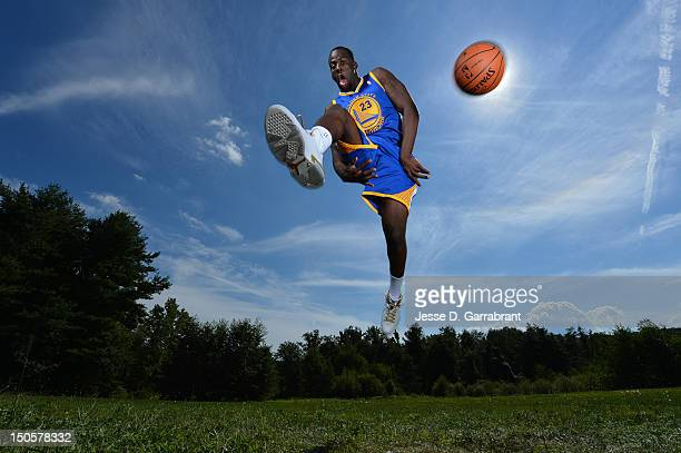 Draymond Green of the Golden State Warriors poses for a portrait during the 2012 NBA rookie photo shoot on August 21 2012 at the MSG Training...