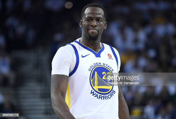 Draymond Green of the Golden State Warriors reacts after a technical foul was called on him during an NBA basketball game against the Cleveland...