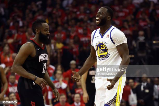 Draymond Green of the Golden State Warriors reacts after being called for a foul in the second quarter on Trevor Ariza of the Houston Rockets in Game...
