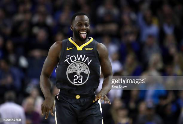 Draymond Green of the Golden State Warriors reacts after he made a shot against the New Orleans Pelicans at ORACLE Arena on January 16 2019 in...