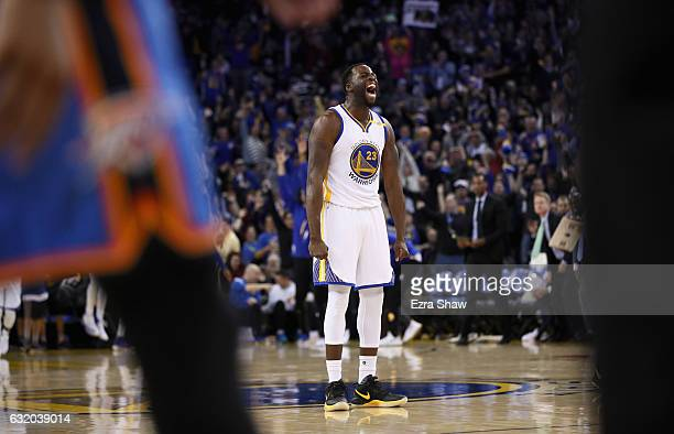 Draymond Green of the Golden State Warriors reacts after Klay Thompson made a threepoint basket against the Oklahoma City Thunder at ORACLE Arena on...