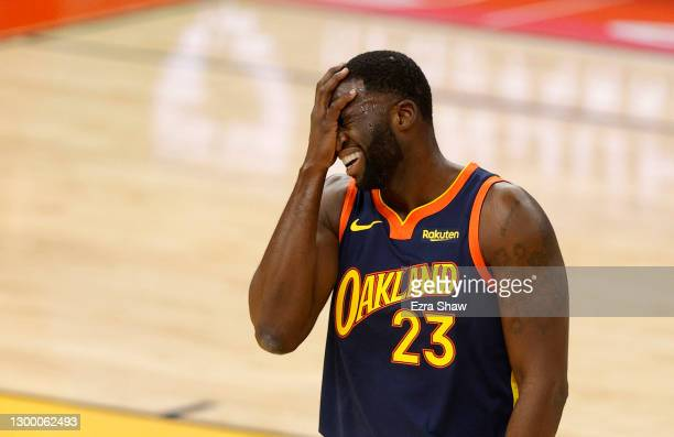 Draymond Green of the Golden State Warriors reacts after made a bad pass against the Boston Celtics at Chase Center on February 02, 2021 in San...