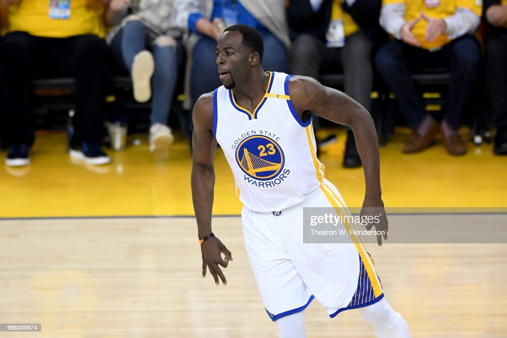 Draymond Green #23 of the Golden State Warriors reacts after making a three-point basket against the Cleveland Cavaliers in Game 5 of the 2017 NBA Finals at ORACLE Arena on June 12, 2017 in Oakland, California.
