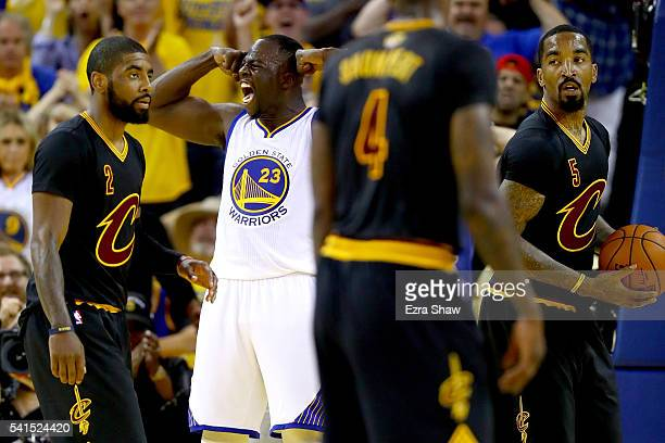 Draymond Green of the Golden State Warriors reacts after scoring against the Cleveland Cavaliers in Game 7 of the 2016 NBA Finals at ORACLE Arena on...