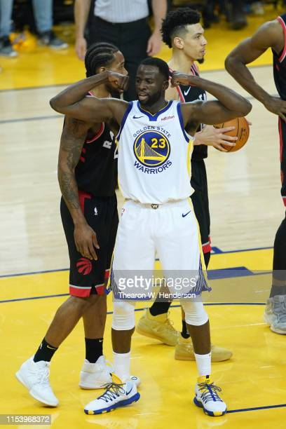 Draymond Green of the Golden State Warriors reacts against the Toronto Raptors in the first half during Game Three of the 2019 NBA Finals at ORACLE...
