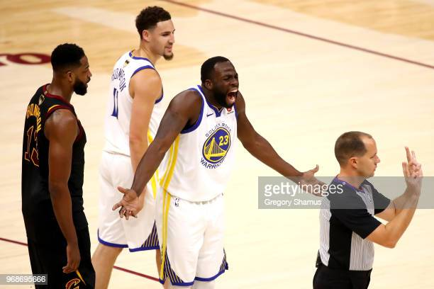 Draymond Green of the Golden State Warriors reacts against the Cleveland Cavaliers in the first quarter during Game Three of the 2018 NBA Finals at...