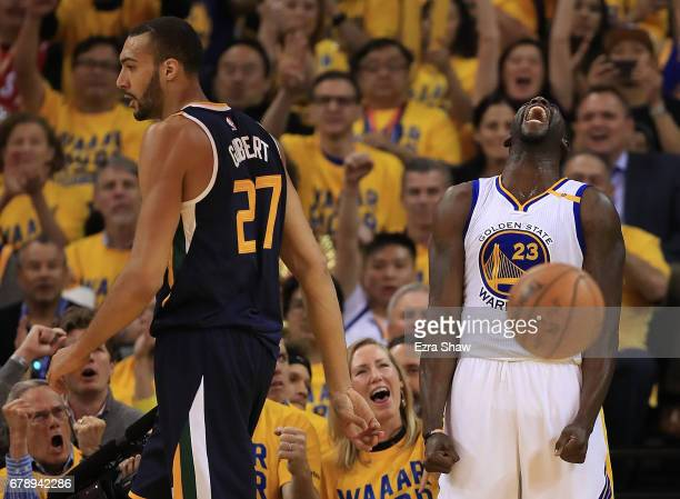 Draymond Green of the Golden State Warriors reacts against the Utah Jazz during Game Two of the NBA Western Conference SemiFinals at ORACLE Arena on...