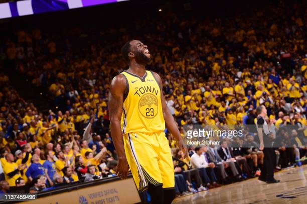 Draymond Green of the Golden State Warriors reacts during a game against the LA Clippers during Game Two of Round One of the 2019 NBA Playoffs on...