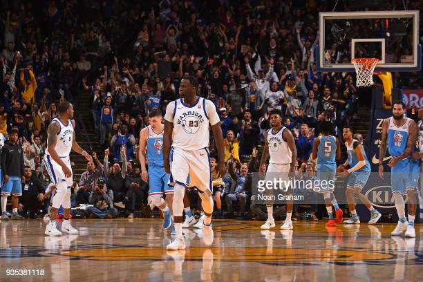 Draymond Green of the Golden State Warriors reacts during the game against Sacramento Kings on March 16 2018 at ORACLE Arena in Oakland California...