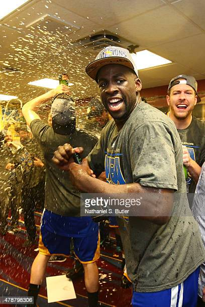 Draymond Green of the Golden State Warriors reacts in the locker room after the Golden State Warriors win Game Six of the 2015 NBA Finals against the...