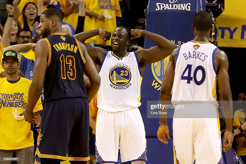 Draymond Green #23 of the Golden State Warriors reacts in the second quarter of Game 2 of the 2016 NBA Finals against the Cleveland Cavaliers at ORACLE Arena on June 5, 2016 in Oakland, California.