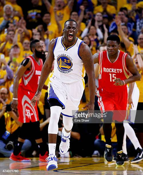Draymond Green of the Golden State Warriors reacts in the second quarter against the Houston Rockets during Game One of the Western Conference Finals...
