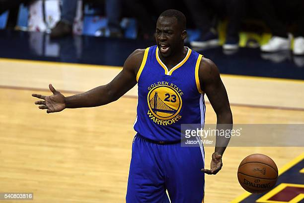 Draymond Green of the Golden State Warriors reacts to a call in the first quarter against the Cleveland Cavaliers in Game 6 of the 2016 NBA Finals at...