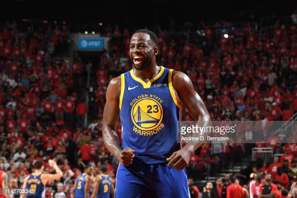 Draymond Green of the Golden State Warriors reacts to a play against the Houston Rockets during Game Six of the Western Conference Semifinals of the...