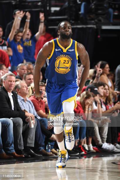 Draymond Green of the Golden State Warriors reacts to a play against the Portland Trail Blazers during Game Four of the Western Conference Finals on...