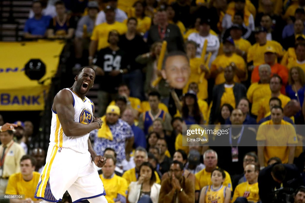Draymond Green #23 of the Golden State Warriors reacts to a play against the Cleveland Cavaliers in Game 2 of the 2017 NBA Finals at ORACLE Arena on June 4, 2017 in Oakland, California.