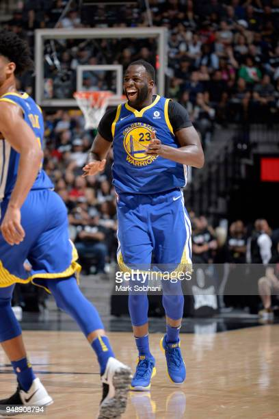 Draymond Green of the Golden State Warriors reacts to a play during Game Three of the Western Conference Quarterfinals against the San Antonio Spurs...