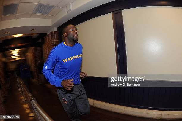 Draymond Green of the Golden State Warriors runs to the court before Game Four of the Western Conference Finals against the Oklahoma City Thunder...