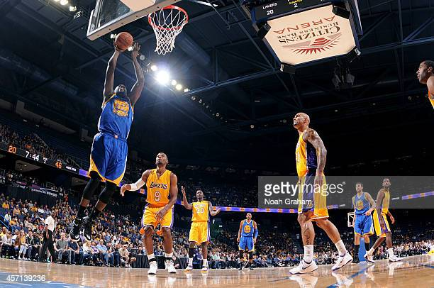 Draymond Green of the Golden State Warriors shoots against the Los Angeles Lakers on October 12 2014 at Citizens Business Bank Arena in Ontario...