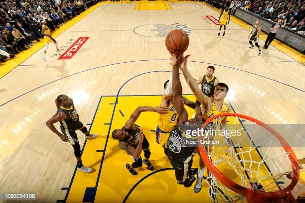 Draymond Green of the Golden State Warriors shoots the ball against the Los Angeles Lakers on February 2 2019 at ORACLE Arena in Oakland California...