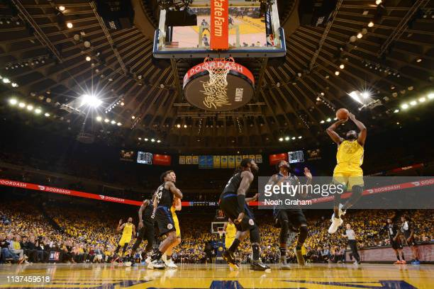 Draymond Green of the Golden State Warriors shoots the ball against the LA Clippers during Game Two of Round One of the 2019 NBA Playoffs on April 15...