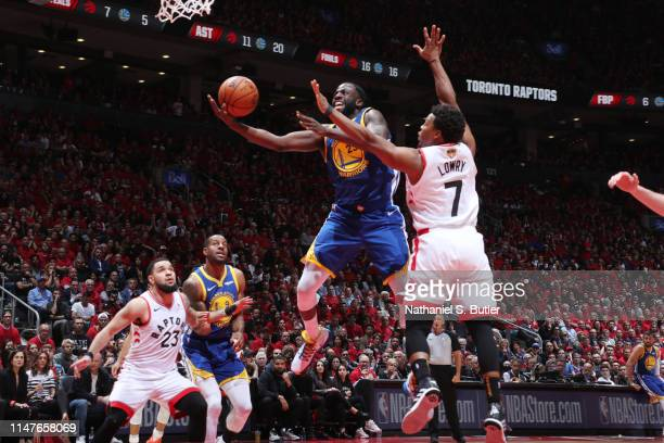 Draymond Green of the Golden State Warriors shoots the ball against the Toronto Raptors during Game Two of the NBA Finals on June 2 2019 at...