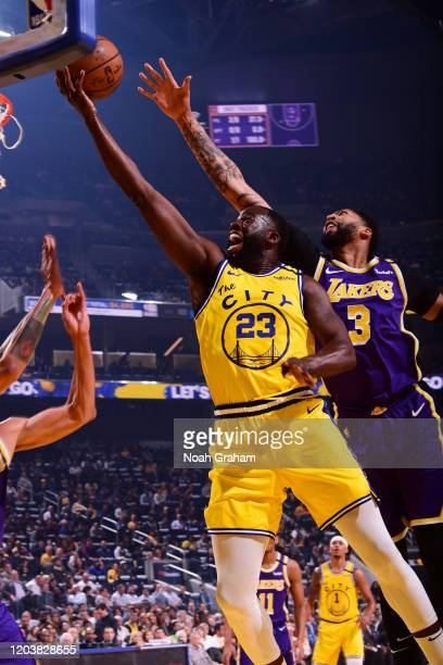 Draymond Green of the Golden State Warriors shoots the ball against the Los Angeles Lakers on February 27 2020 at Chase Center in San Francisco...