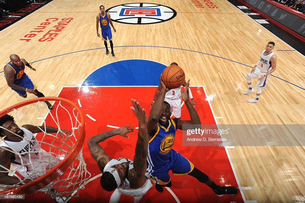 Draymond Green #23 of the Golden State Warriors shoots the ball against the Los Angeles Clippers on October 20, 2015 at STAPLES Center in Los Angeles, California.