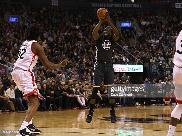 Draymond Green of the Golden State Warriors shoots the ball against the Toronto Raptors on December 5 2015 at Air Canada Centre in Toronto Ontario...