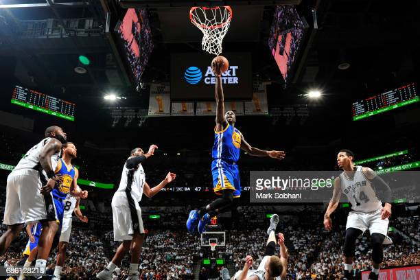 Draymond Green of the Golden State Warriors shoots the ball against the San Antonio Spurs in Game Three of the Western Conference Finals of the 2017...