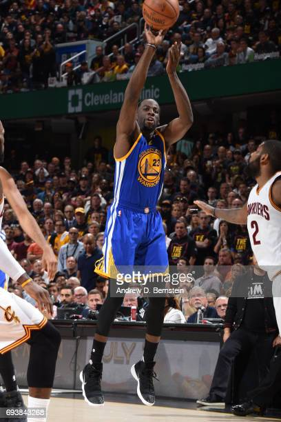 Draymond Green of the Golden State Warriors shoots the ball against the Cleveland Cavaliers in Game Three of the 2017 NBA Finals on June 7 2017 at...