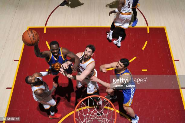 Draymond Green of the Golden State Warriors shoots the ball against the Cleveland Cavaliers in Game Four of the 2017 NBA Finals on June 9 2017 at...