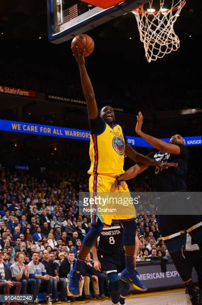 Draymond Green of the Golden State Warriors shoots the ball during the game against the Minnesota Timberwolves on January 25 2018 at ORACLE Arena in...