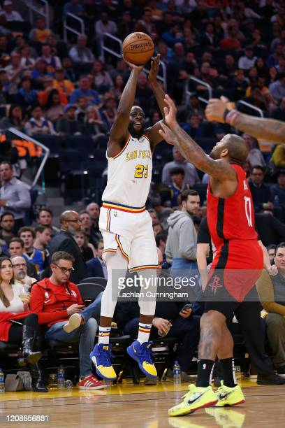 Draymond Green of the Golden State Warriors shoots the ball in the second half against the Houston Rockets at Chase Center on February 20 2020 in San...