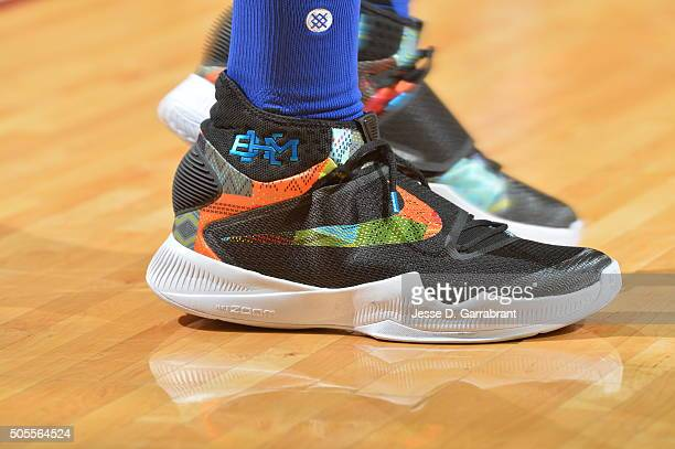 Draymond Green of the Golden State Warriors showcases his sneakers against the Cleveland Cavaliers on January 18 2016 at Quicken Loans Arena in...