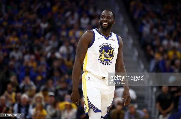 Draymond Green of the Golden State Warriors smiles during their game against the Los Angeles Lakers at Chase Center on October 05 2019 in San...