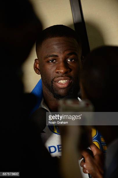 Draymond Green of the Golden State Warriors talks to the media after Game Five of the Western Conference Finals against the Oklahoma City Thunder...