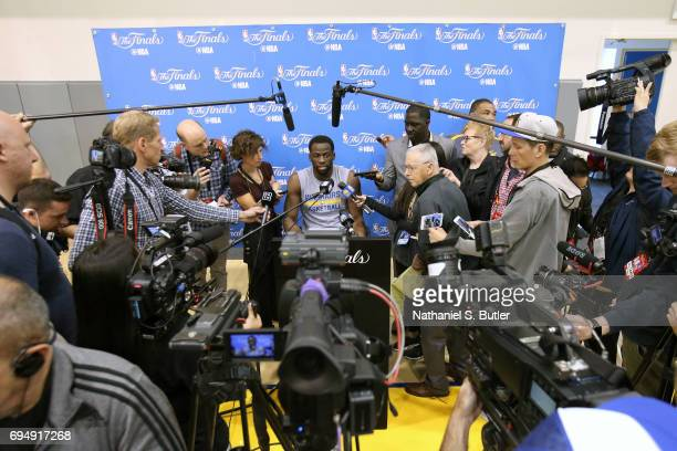 Draymond Green of the Golden State Warriors talks to the media after practice and media availability as part of the 2017 NBA Finals on June 11 2017...