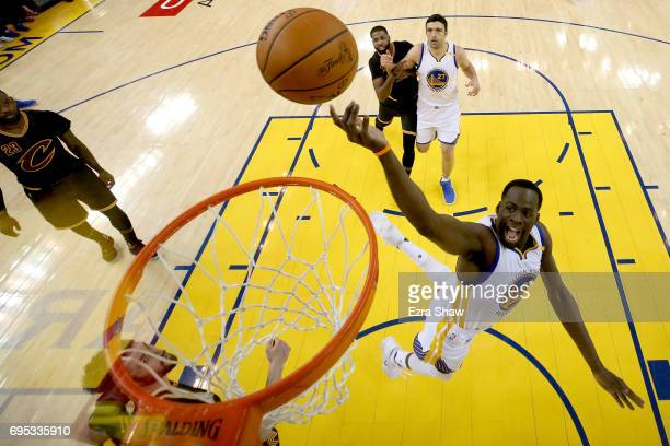 Draymond Green of the Golden State Warriors throws up a shot against the Cleveland Cavaliers in Game 5 of the 2017 NBA Finals at ORACLE Arena on June...