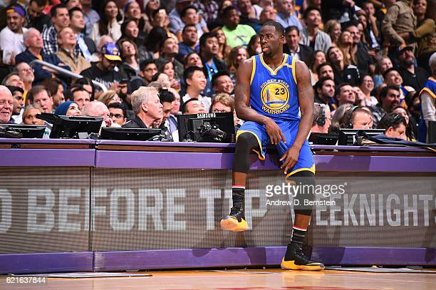 Draymond Green of the Golden State Warriors waits to get in the game against the Los Angeles Lakers on November 4 2016 at STAPLES Center in Los...