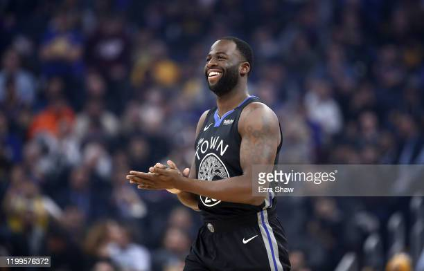 Draymond Green of the Golden State Warriors walks on to the court for their game against the Dallas Mavericks at Chase Center on January 14, 2020 in...