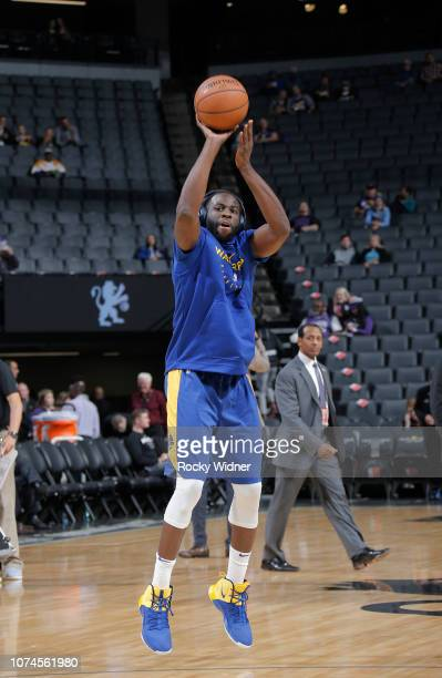 Draymond Green of the Golden State Warriors warms up against the Sacramento Kings on December 14 2018 at Golden 1 Center in Sacramento California...