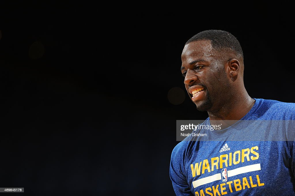 Draymond Green #23 of the Golden State Warriors warms up before a game against the Memphis Grizzlies on April 13, 2015 at Oracle Arena in Oakland, California.