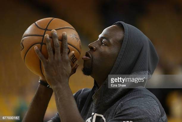 Draymond Green of the Golden State Warriors warms up prior to Game One of the NBA Western Conference SemiFinals against the Utah Jazz at ORACLE Arena...