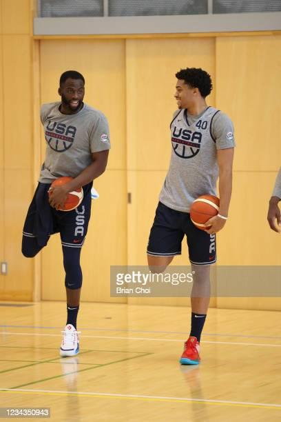 Draymond Green of the USA Men's National Team talks with Keldon Johnson of the USA Men's National Team during USAB Mens National Team practice on...