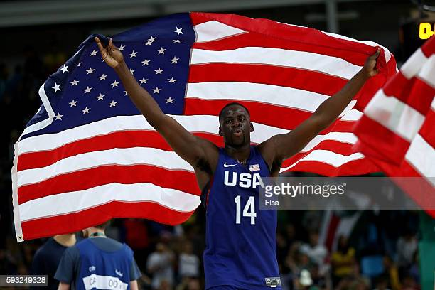 Draymond Green of United States celebrates after defeating Serbia during the Men's Gold medal game on Day 16 of the Rio 2016 Olympic Games at Carioca...