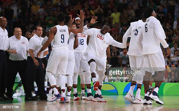 Draymond Green of United States highlives Demar DeRozan after the victory during the Men's Priliminary Round between the United States and Venezuela...